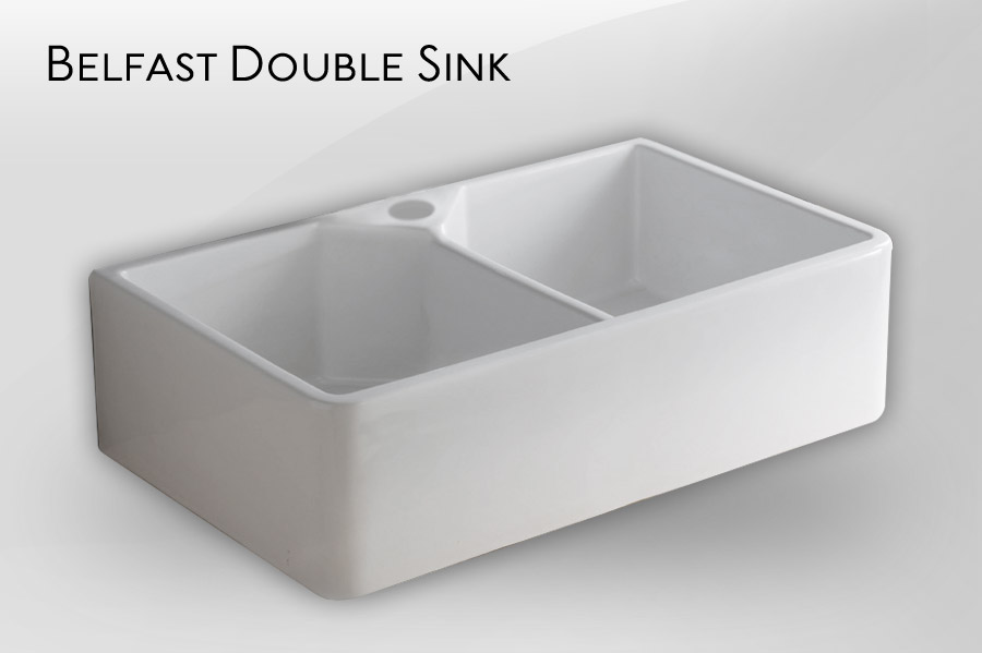 Kitchen Sink Double : DOUBLE BELFAST SINK - Fireclay english kitchen butler sink double bowl